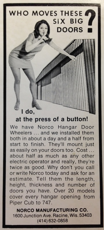 Norco Manufacturing Hangar Door Wheeler Advertisement